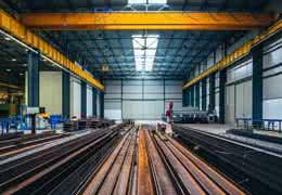 bridge crane in steel warehouse building