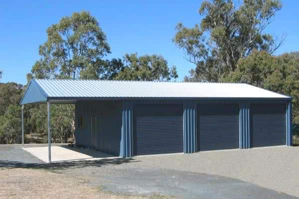 3 Bay Boat Garage with lean to
