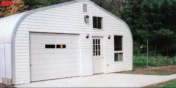 Arched or Quonset steel buildings with curved roof styles