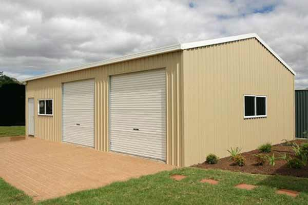 Two car metal garage building