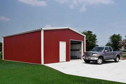 Small steel garage kit building