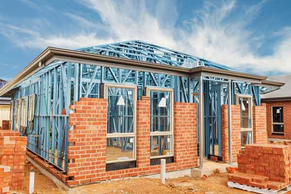 Metal Frame Home Construction, with brick finish