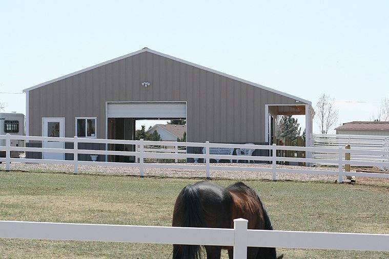 Photo gallery of steel barn, riding arena and farm storage